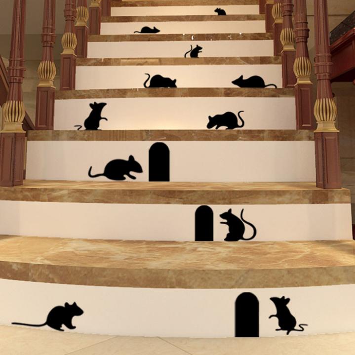 Incroyable-bricolage-drôle-Art-Graffiti-Rat-étage-escalier-Stickers-muraux-personnalité-créative-de-bande-dessinée-mignon