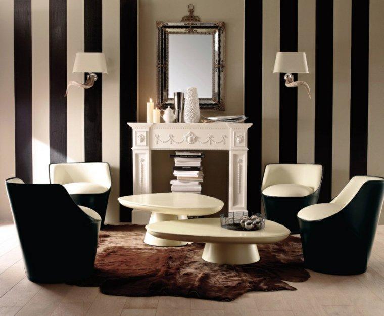 fauteuil-noir-blanc-tapis-de-sol-design-cheminee
