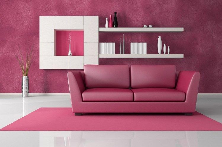 peinture-murale-canapé-salon-cuir-rose-bonbon