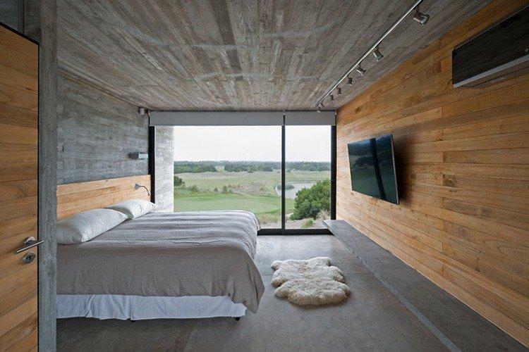 sol-béton-ciré-porte-bois-plafond-béton