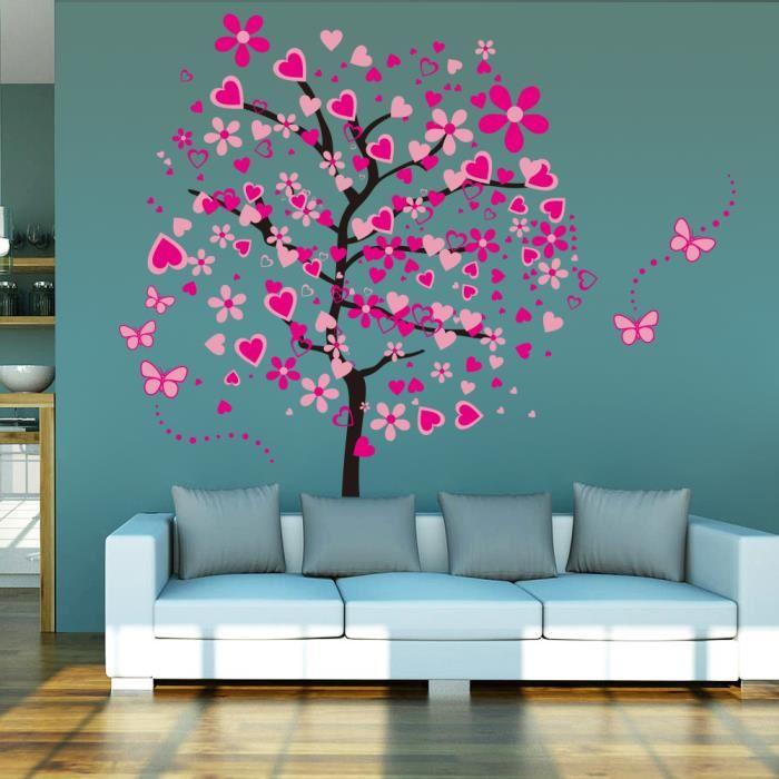 stickers-muraux-pecher-arbre-et-papillons-roses
