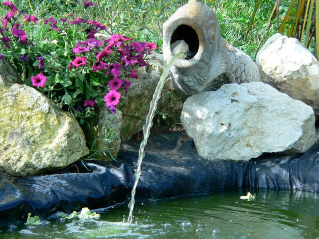 Jardin Pierre Ruisseau étang Pierre Naturelle Sein Fontaine Vasq ...